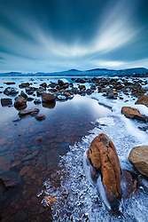 """Icy Tahoe Shoreline"" - Photograph of any icy frozen shoreline in Kings Beach, Lake Tahoe. Shot just after sunset."