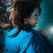 Actress Farah Ahmed underwater.