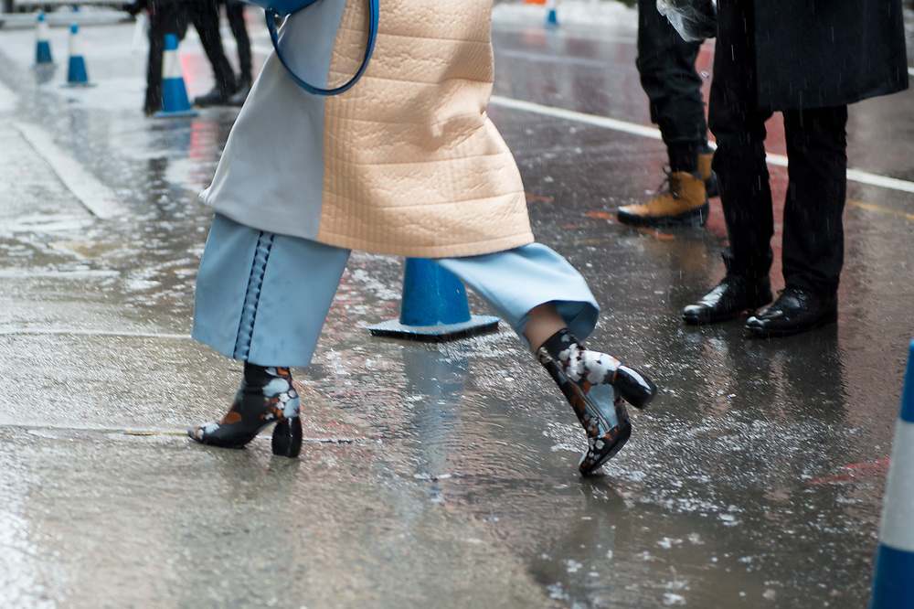Floral Boots and Wide-Legged Pants, Outside Public School FW2017
