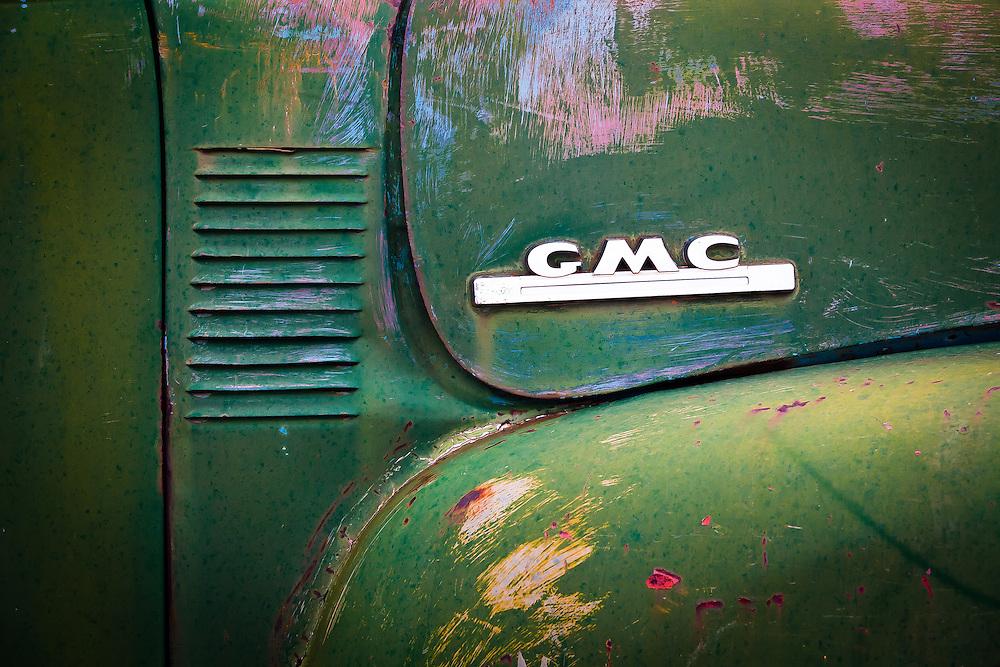 An old green GMC pickup in Bluff, Utah.