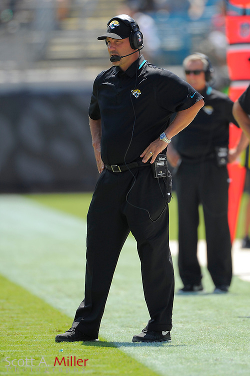 Jacksonville Jaguars head coach Gus Bradley during the Jags 28-2 loss to the Kansas City Chiefs at EverBank Field on Sept. 8, 2013 in Jacksonville, Florida. The <br /> <br /> &copy;2013 Scott A. Miller
