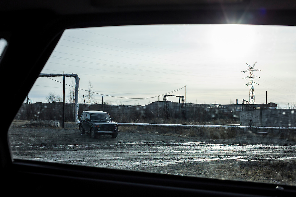 A car that followed journalists to several interviews and meetings on Wednesday, November 13, 2013 in Asbest, Russia. The car eventually stopped openly following the journalists after intervention by security officials with the town administration.