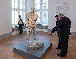 Visitor looking at sculpture , Jules Bastien-Lepage by Auguste Rodin,  at new Museum Barberini in Potsdam Germany