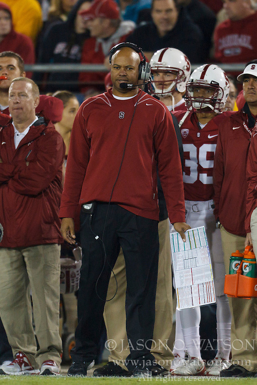 Nov 12, 2011; Stanford CA, USA;  Stanford Cardinal head coach David Shaw on the sidelines against the Oregon Ducks during the fourth quarter at Stanford Stadium.  Oregon defeated Stanford 53-30. Mandatory Credit: Jason O. Watson-US PRESSWIRE