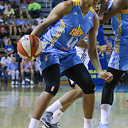 Chicago Sky Forward Betnijah Laney (44) dribbles the ball near the baseline in the second period of a WNBA preseason basketball game between the Chicago Sky and the New York Liberty Friday, May. 22, 2015 at The Bob Carpenter Sports Convocation Center in Newark, DEL