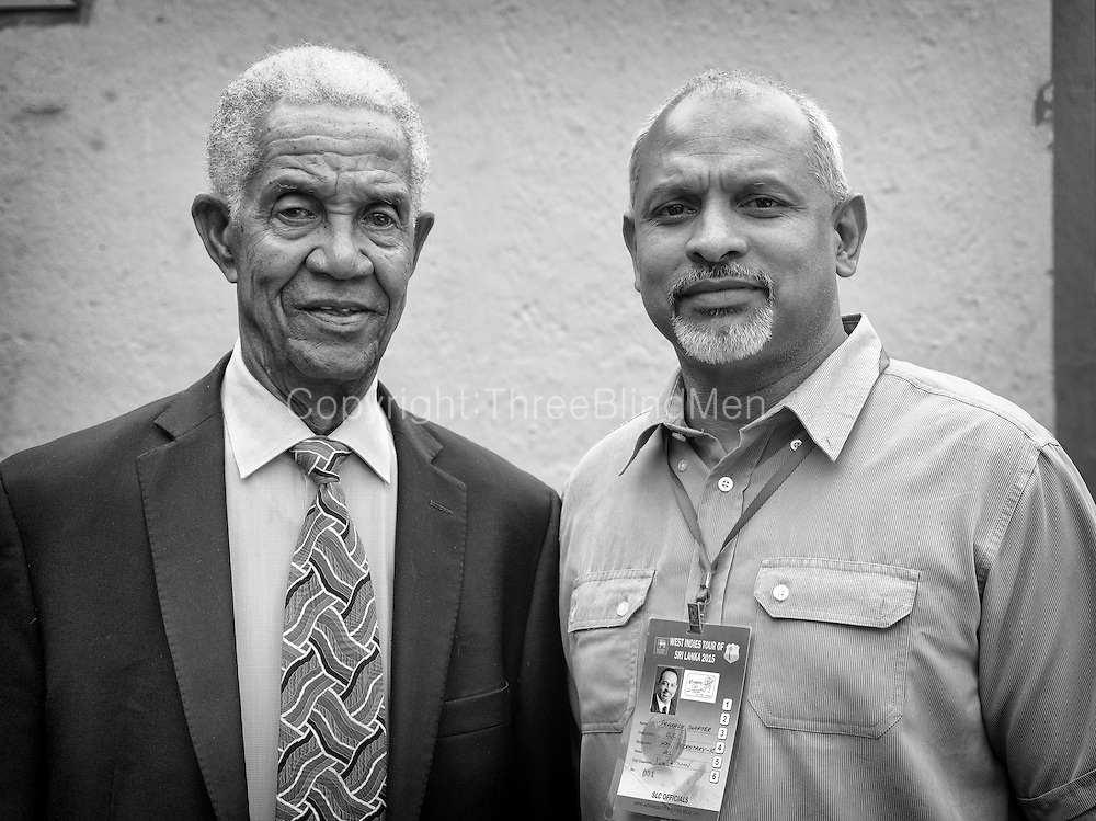 Sir Garry Sobers and Mr Prakash Schaffter at the Oval Cricket Ground, Colombo.<br />
