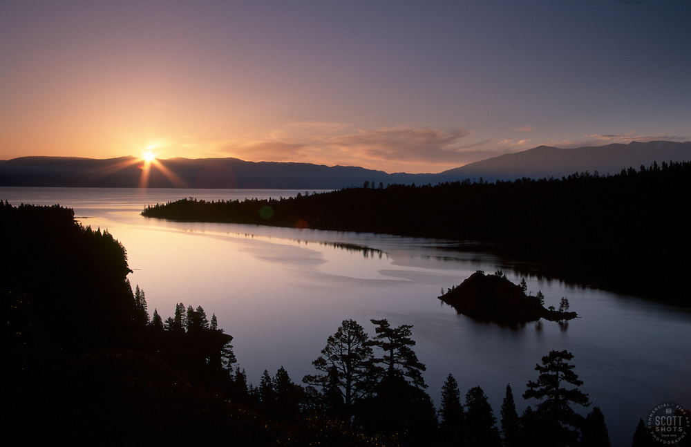 &quot;Emerald Bay Sunrise 1&quot;- This sunrise was photographed at Emerald Bay in Lake Tahoe, CA.<br /> Photographed: June 2004