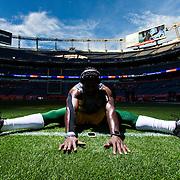 Green Bay Packers inside linebacker Nate Palmer (51) stretches before the NFL regular season game against the Denver Broncos on Sunday, Nov. 1, 2015 in Denver. The Broncos won, 29-10. (Ric Tapia via AP)