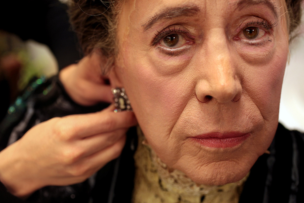 """Actor Brian Bedford transforms into """"Lady Bracknell"""" for The Importance of Being Earnest at the American Airlines Theatre in New York, NY on February 2, 2011."""