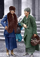 L-R: Constance Markievicz, Kathleen Lynn at Earlsfort Terrace, probably taken at the treaty debates, Dec 1921-Jan 1922. Kathleen Lynn was born in Cong, Co Mayo, daughter of a Bishop of the Church of Ireland. She completed her medical training and by 1913 was Chief Medical Officer of the Citizen Army. Image hand coloured by our Image Archivist. <br /> <br /> This image has been digitally edited to add colour to its original black and white format. (Part of the Independent Newspapers Ireland/NLI Collection)