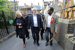 © Licensed to London News Pictures. 19/04/17. Croydon, UK.  Labour Party leader JEREMY CORBYN arrives to address supporters in Croydon town centre, joined by labour councillors and supporters, on the day that the House of Commons voted for a snap general election on June 8, 2017.  Photo credit: Grant Melton/LNP
