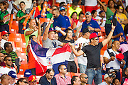 SAN JUAN, PUERTO RICO FEBRUARY 3: Fans for the Dominican Republic cheer during the game against Cuba on February 3, 2015 in San Juan, Puerto Rico at Hiram Bithorn Stadium(Photo by Jean Fruth)