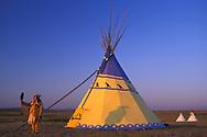 Blackfeet Artis Darrell Norman and his Tipi, Browning, Montana,