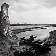 Woman passing shrimp farms. Image © Mohammad Rakibul Hasan/Falcon Photo Agency
