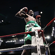 "Welterweight boxing pro ""The New"" Ray Robinson of Philadelphia, PA celebrates after defeating Welterweight boxing pro Daniel Sostre Friday, Nov 21, 2014 at The Case Center on The River Front in Wilmington, Del."
