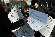 Windsor, Ontario. March, 2013. Idle No More 'World Water Day' held at Dieppe Park. About thirty people including two Members of Parliament attend the cermony.