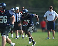 Ole Miss' Devin Thomas (29) runs during football practice in Oxford, Miss. on Sunday, August 7, 2011.
