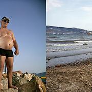 Valentino from Korce, Albania in Fonias beach. Elefsina, Saronic Gulf, West Attica.  A shipwreck, next to Halyvourgiki steel mill. Aspropyrgos, Saronic Gulf, Western Attica