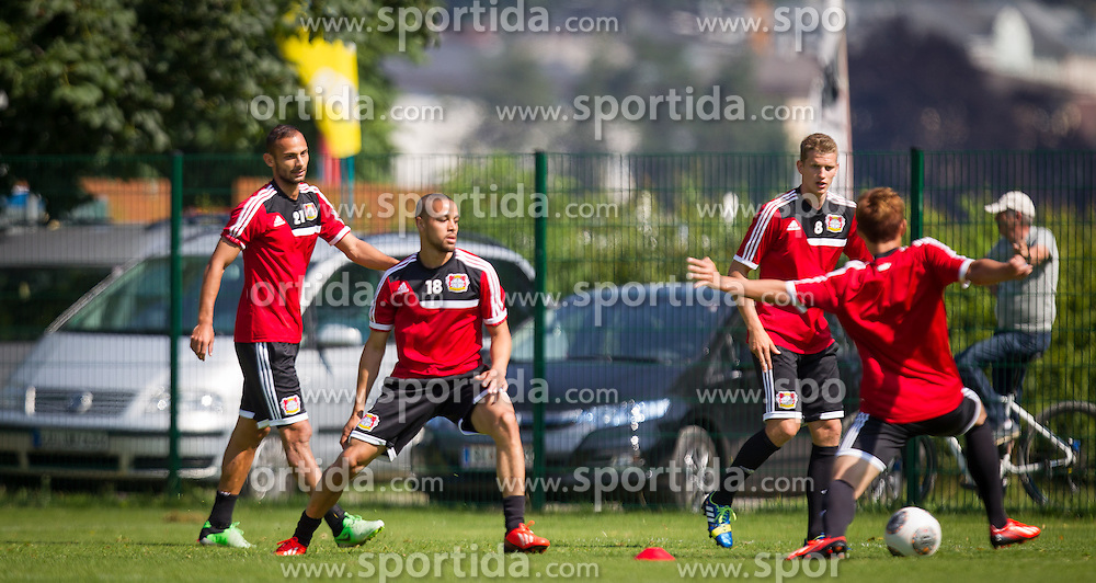 17.07.2013, Alois Latini Stadion, Zell am See, AUT, Bayer 04 Leverkusen Trainingslager, im Bild Oemer Toprak, (Bayer 04 Leverkusen), Sidney Sam, (Bayer 04 Leverkusen), Lars Bender, (Bayer 04 Leverkusen) und Heung-Min Son, (Bayer 04 Leverkusen) // during a Trainingssession of the German Bundesliga Club Bayer 04 Leverkusen at the Alois Latini Stadium, Zell am See, Austria on 2013/07/17. EXPA Pictures © 2013, PhotoCredit: EXPA/ Juergen Feichter