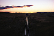 Wyoming. Railroad tracks in Douglas, located on the North Platte River near Laramie Peak and the Medicine Bow National Forest