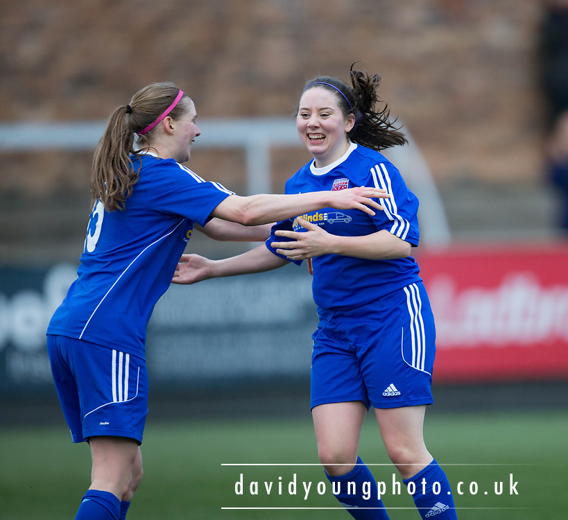 Cheryl Kilcoyne (righ) is congraulated after scoring her side's fourth in their win over East Fife - Forfar Farmington v East Fife in the Scottish Womens' Premier League 2 at Station Park in  Forfar : Image &copy; David Young<br /> <br />  - &copy; David Young - www.davidyoungphoto.co.uk - email: davidyoungphoto@gmail.com