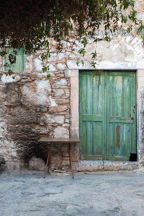A typical front house door in the medieval village of Mesta, Chios, Greece