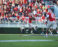Ole Miss vs. Georgia split end Marlon Brown (15) catches a pass for a touchdown at Sanford Stadium in Athens, Ga. on Saturday, November 3, 2012.