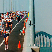 Runners make their way from New Brunswick to PEI during BridgeRace, a 13 km run across the newly opened Confederation Bridge.<br />