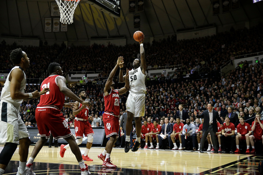 Purdue forward Caleb Swanigan (50) in action as Purdue played Indiana in an NCCA college basketball game in West Lafayette, Ind., Tuesday, Feb. 28, 2017. (Photo by AJ Mast)