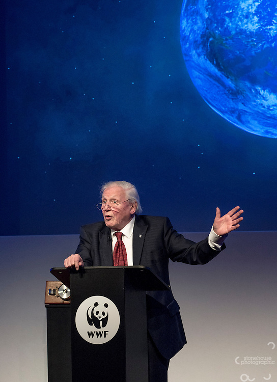Sir David Attenborough at the Inaugural WWF Living Planet Lecture at The Royal Society, London. 3/11/2016