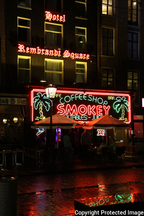 and Hotel Rembrandt Square on Rembrandtplein, night