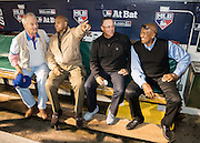 CHICAGO, IL - OCTOBER 29, 2016: Actor Bill Murray and Hall of Famers Greg Maddux, Fergie Jenkins, and Billy Williams talk in the dugout before the start of Game 4 of the 2016 World Series between the Cleveland Indians and the Chicago Cubs at Wrigley Field on October 29, 2016 in Chicago, Illinois. (Photo by Jean Fruth)