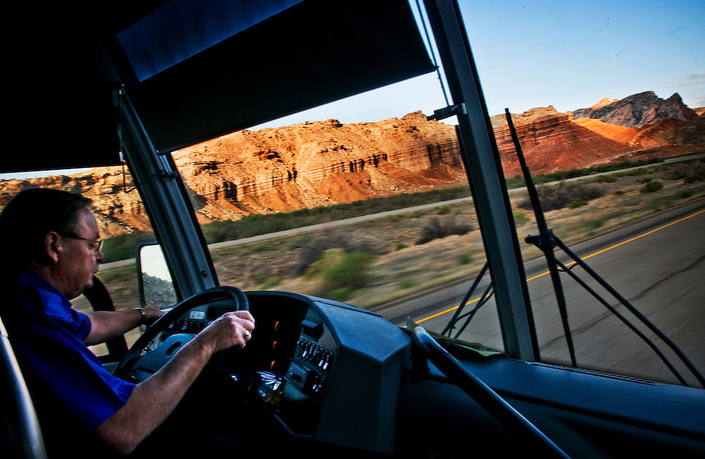 Greyhound Trip..Driver Gary Latshaw has been driving the the Grand Junction - Las Vegas route for Greyhound for 20 years. He lives in Grand Junction...Photographer: Chris Maluszynski /MOMENT