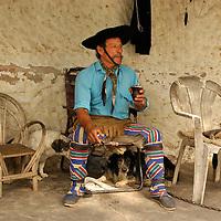 Gaucho drinking Mate tea, Estancia Buena Vista, near Esquina, Corrientes, Argentina, South America