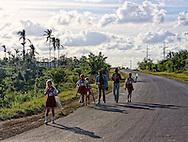 Children coming home from school  east of La Palma, Pinar del Rio, Cuba.