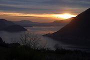 Italy, Lombardy, Iseo lake the Oglio  river at sunset