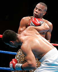 February 10, 2006 - Mashantucket, CT - Emanuel Augustus and Jaime Rangel trade punches during their 10 round fight at Foxwoods Hotel & Casino.  Augustus rallied to win via 10th round TKO.