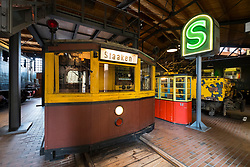 Early subway train on display at Deutsches Technikmuseum, German Museum of Technology, in Berlin, Germany