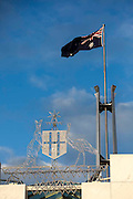 Australian Parliment House Canberra. Australian Coat of Arms with kangaroos and the Emu.