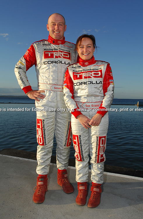 Simon & Sue Evans - Toyota Racing Development Rally Team.Location Photo Shoot .Forster Beach, Forster, NSW.12th September 2007.(C) Joel Strickland Photographics.Use information: This image is intended for Editorial use only (e.g. news or commentary, print or electronic). Any commercial or promotional use requires additional clearance.