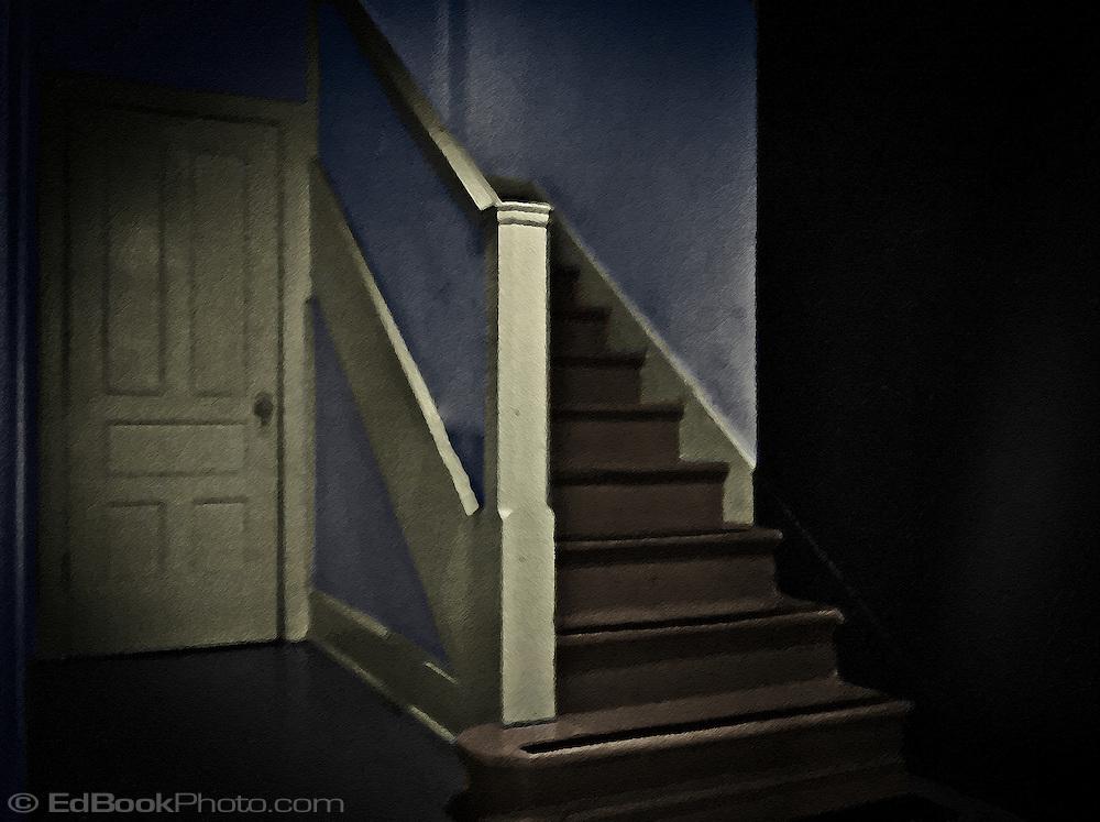 stairway and door digital painting