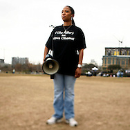 Volunteer Latrice Cooke attends a rally held for U.S. Senator Barack Obama in Austin, Texas, February 23, 2007.