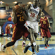 Delaware 87ers Forward Thanasis Antetokounmpo (19) fouls Canton Charge Guard Carrick Felix (42) as Felix drives towards the basket in the second half of a NBA D-league regular season basketball game between the Delaware 87ers (76ers) and The Canton Charge (Cleveland Cavaliers) Friday, Jan 24, 2014 at The Bob Carpenter Sports Convocation Center, Newark, DEL.