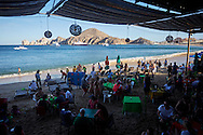 The beach side tourist scene in Cabo San Lucas, Baja Sur California, Mexico.