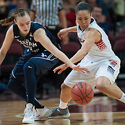 BYU's Lexi Eaton and Gonzaga's Haiden Palmer compete for a loose ball. (Austin Ilg photo, Gonzaga Bulletin)