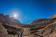 The start of the Glacier Trail at the Athabasca Glacier and Columbia Icefields in Jasper National Park, on a moonlit night. This is a single 20 second exposure with the 15mm lens at f/2.8 and Canon 6D at ISO 800. The waxing gibbous Moon was bright!