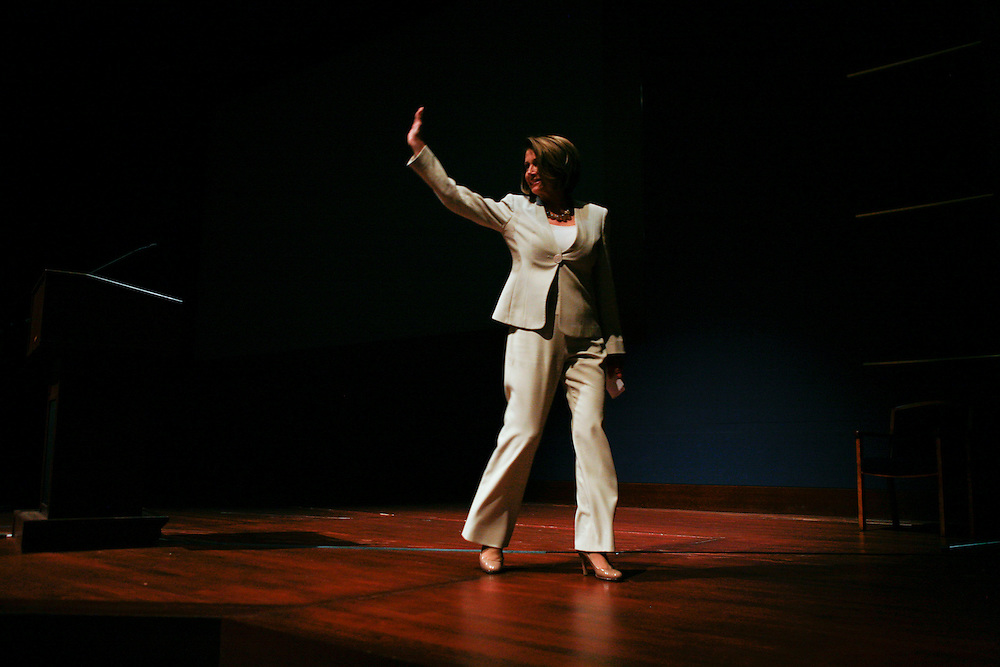 House Speaker Nancy Pelosi (D-Calif.) waves after making opening remarks for the GRAMMYs on the Hill event on April 15, 2010 on Capitol Hill in Washington, DC.