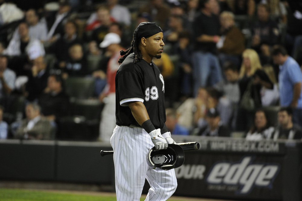 CHICAGO - SEPTEMBER 14:  Manny Ramirez #99 of the Chicago White Sox walks back to the dugout after making an out against the Minnesota Twins on September 14, 2010 at U.S. Cellular Field in Chicago, Illinois.  The Twins defeated the White Sox 9-3.  (Photo by Ron Vesely)