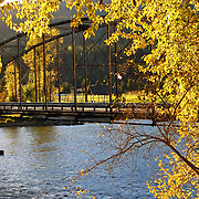 Bridge over the Kootenai River in fall. Troy in Lincoln County, northwest Montana.