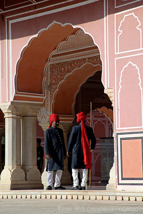 Asia, India, Jaipur. Guards at Chandra Mahal at Jaipur City Palace.